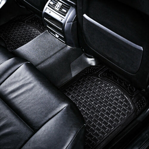 4 Pcs Car Mats Rubber Black Universal Fit Heavy Duty Non Slip Waterproof Van