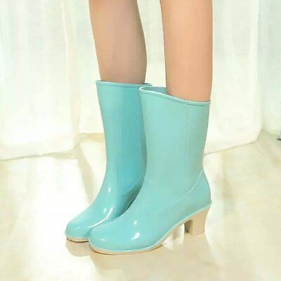New Women's Sweet Waterproof Shoes Candy Colors Wellies Rubber Rain Boots Shoes
