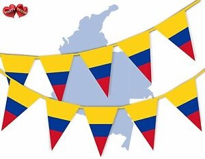 Colombia-Full-Flag-Patriotic-Themed-Bunting-Banner-15-Triangle-flags