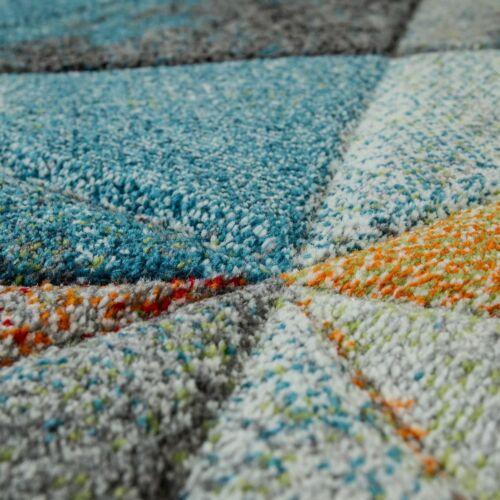 Wohnzimmer Teppich Blau Orange Bunt Dreieck Muster 3-D Look Bunt Robust Kurzflor