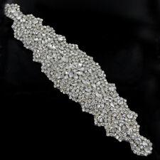"""XR262 Crystal Rhinestone Applique Embellishment Silver Settings 9/"""" Bridal"""