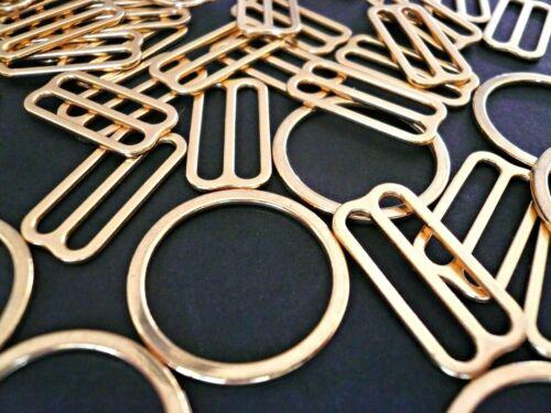 placcato Oro Reggiseno CURSORI /& Anelli .16mm5//8 pollice wide Reggiseno//Lingerie rendendo