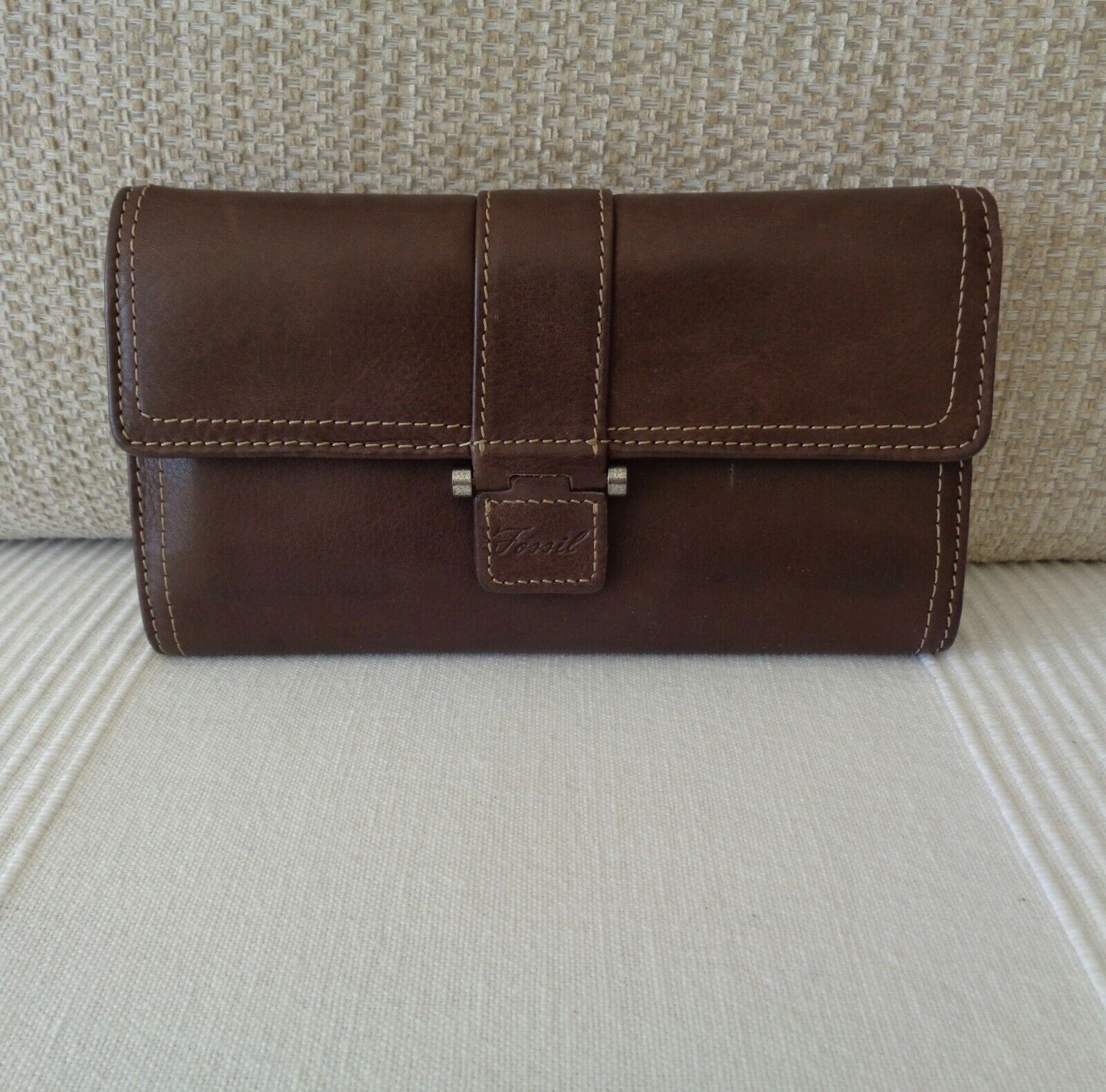 Fossil Vintage Look Brown Leather Trifold Wallet Purse With Extra Wallet 7