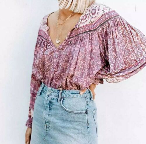 Gypsy Boho Beach Party Festival Vintage Inspired Folk Top Blouse 8,10,12