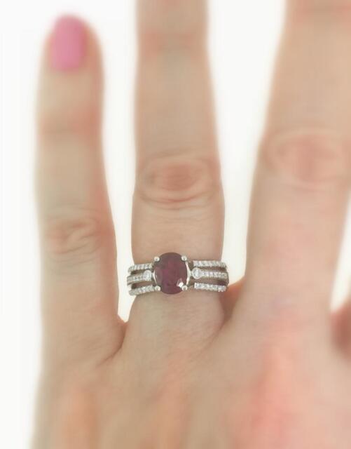 Ruby Diamond Ring 2.36ct Natural 18k White Gold