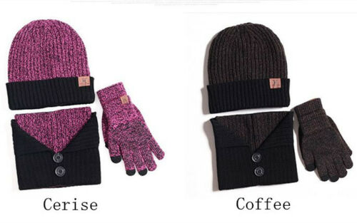 Winter Warm Scarves Gloves Hat Set Beanie Crochet Hat Knitted Button Neck Shawl
