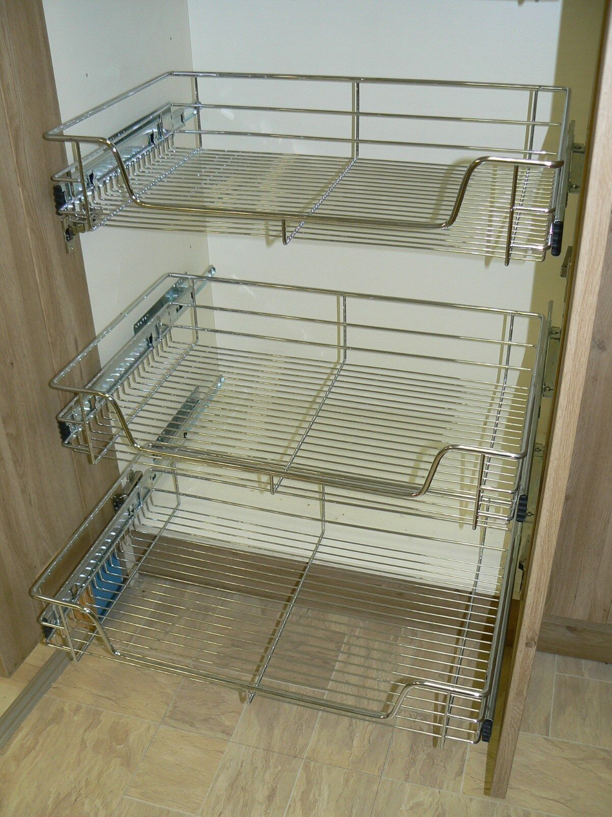 3 X Pull Out Wire Basket Chrome Kitchen Bedroom Drawer Storage 500mm Or 600mm