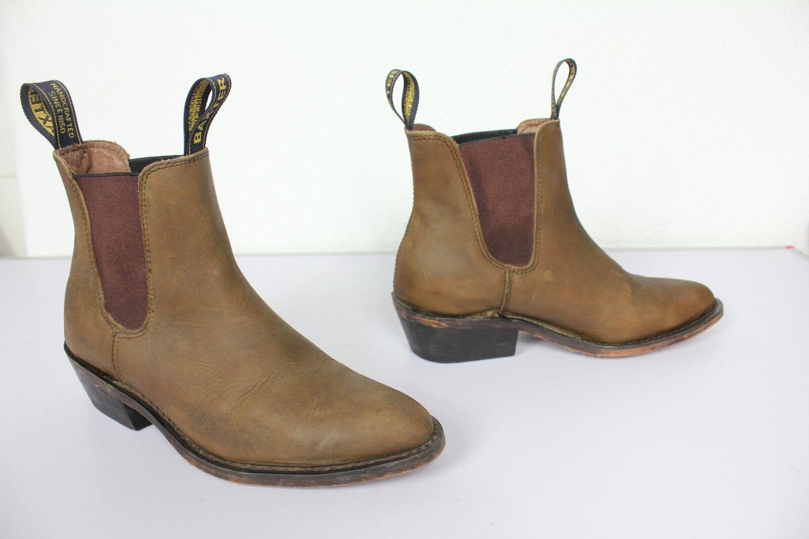 Baxter Handcrafted elegante botas vaqueras cuero genuino marrón tonos eu 39