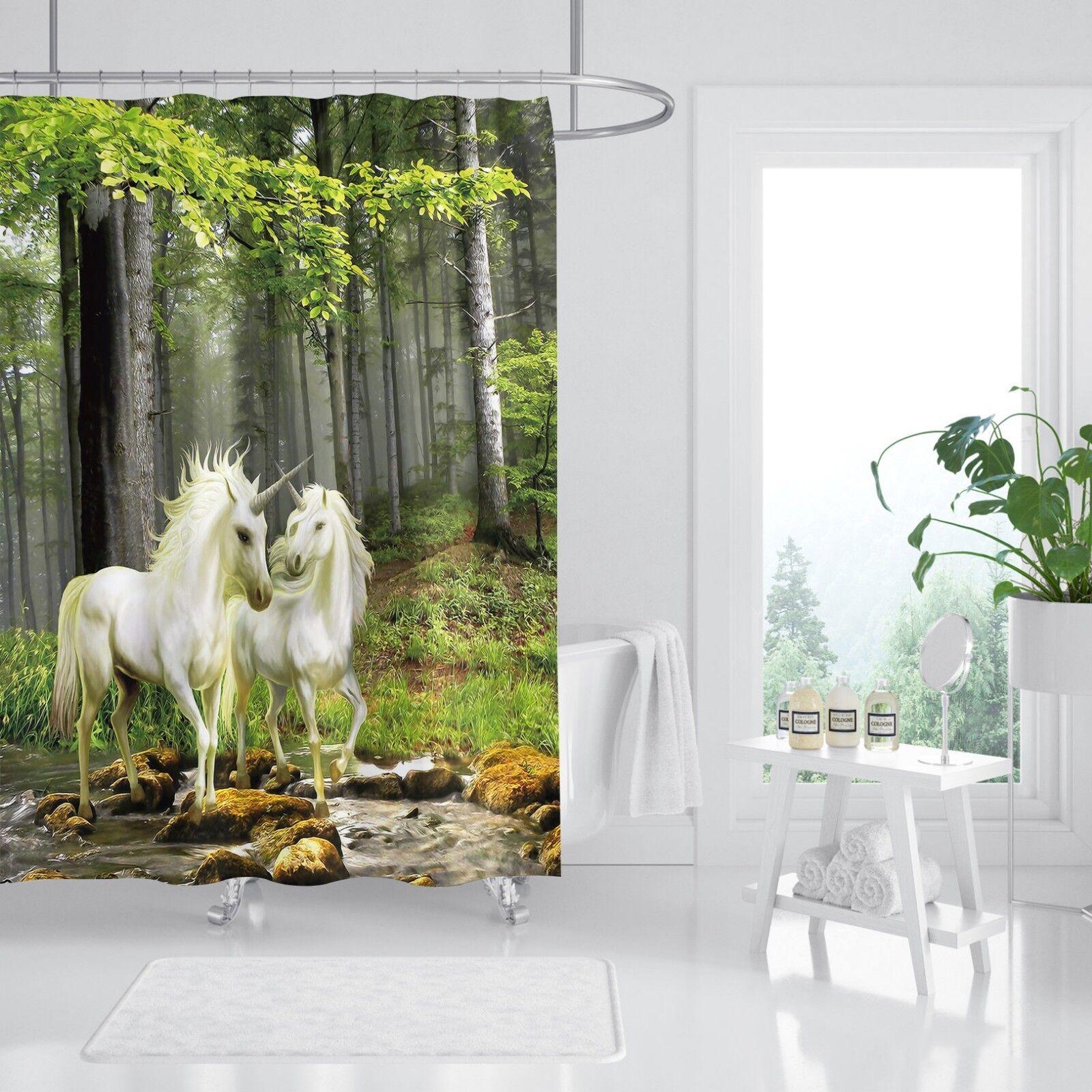 3D Blanc Licorne 53 Rideau de Douche Imperméable Fibre Salle de Bain Home Windows Toilette