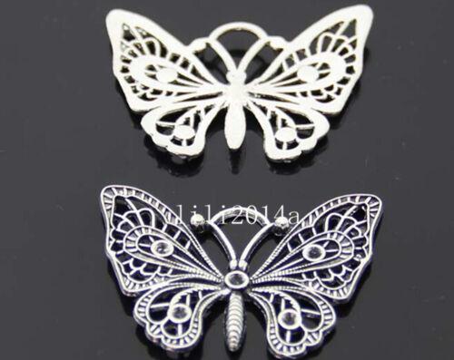 3pc Tibetan Silver butterfly Charm Beads Pendant accessories wholesale  P332L