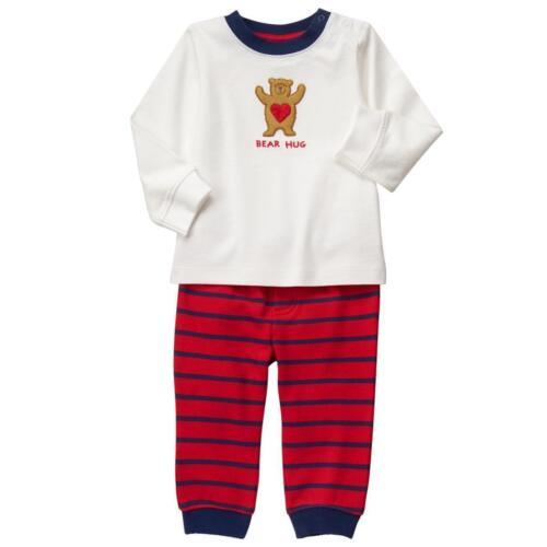 NWT Gymboree Cozy Valentine Baby Boys Bear Hug Shirt /& Pants Outfit Set 0-3 M