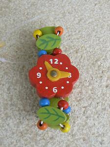 NUOVO-Orologio-giocattolo-in-legno-quadrante-rosso