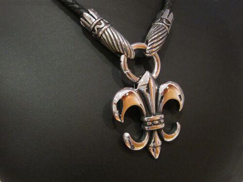 XL Edelstahlanhänger Lilie Lederkette Fleur de Lis Halskette Kette Anhänger
