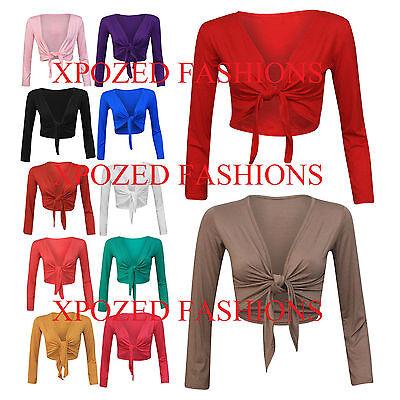 H7D Women's Long Sleeve Tie up Ladies Bolero Shrug Cardigan Top SM / ML