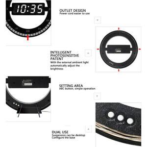 Schwarz-Digital-Uhr-Wanduhr-Wohnzimmeruhr-Buerouhr-LCD-Display