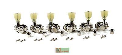Kluson Revolution Locking Tuners 3x3 Pearloid keystone button Nickel KEDPL-3801N