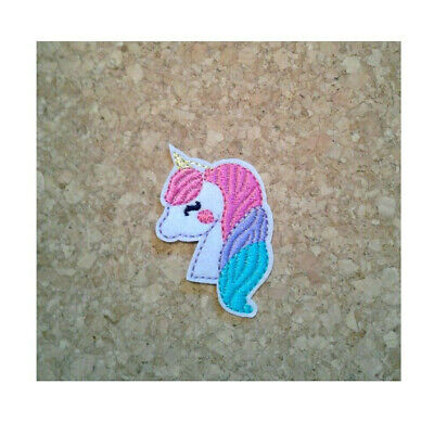Unicorn Mythical Iron on Applique//Embroidered Patch White//Gray Facing Right