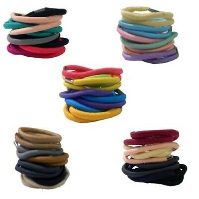 18 MIXED SIZE HAIR ELASTICS IN CLEAR ZIP PURSE PASTELS BRIGHTS