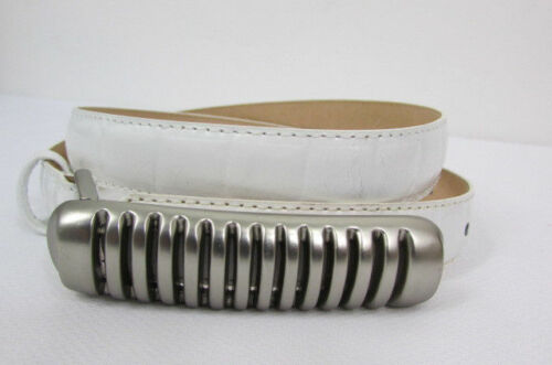 Women White Leather Thin Fashion Belt Hip Waist Silver Long Metal Buckle S M L