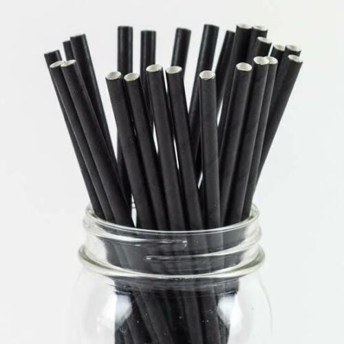 Bulk 2500 × Black Paper Regular Drinking Straws 20cm Long  Eco Friendly