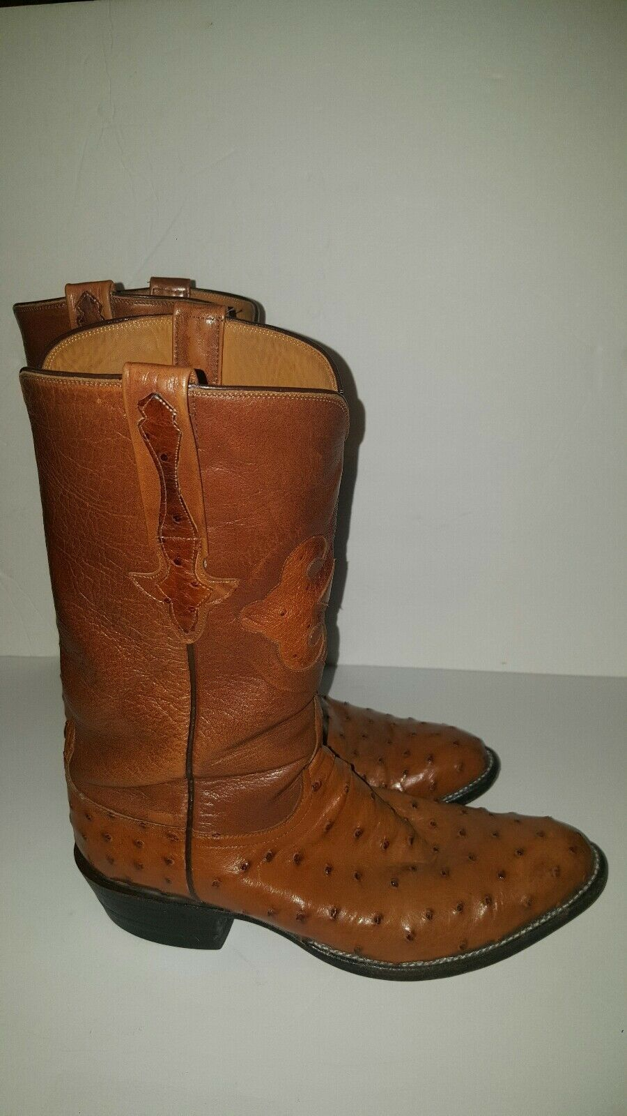 Lucchese Full Quill Pin Ostrich Size 8 1 2D Mens Leather Cowboy Boots