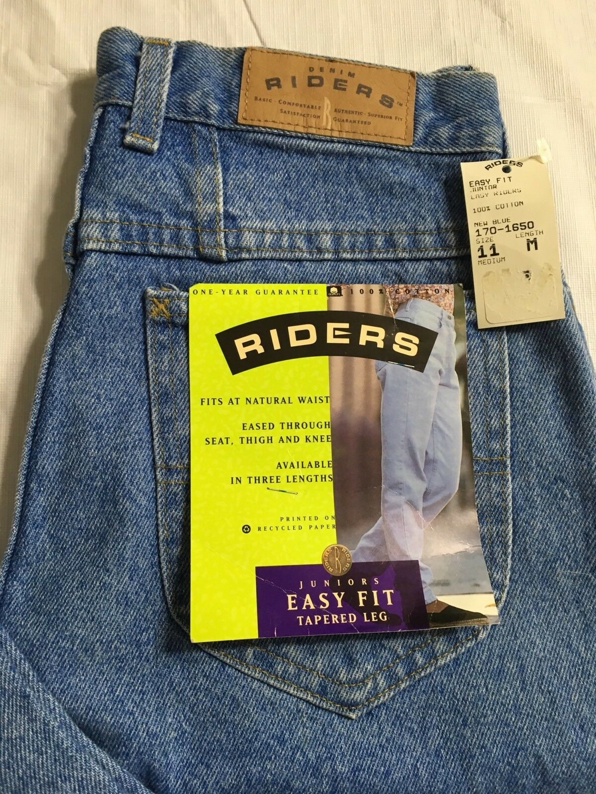 Vtg Lee Riders bluee Jeans Size 11M Easy Fit Tapered Leg USA Made NWT