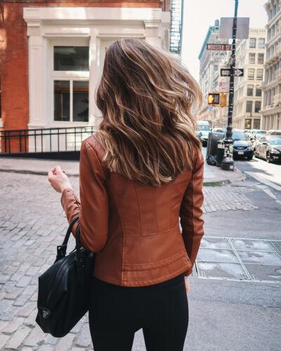 Women/'s Genuine Lambskin Leather Motorcycle Slim fit Designer Biker Jacket NF4