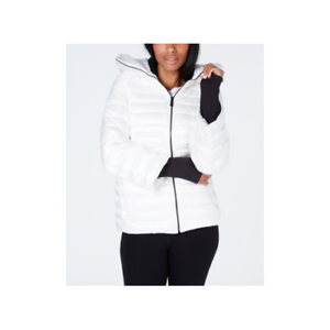 Calvin-Klein-Womens-Down-Filled-Hooded-Puffer-Jacket-White-Size-Medium