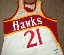 VTG AUTHENTIC 80's DOMINIQUE WILKINS ATLANTA HAWKS SAND-KNIT JERSEY 44 SEWN!