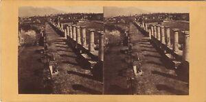 Pompei Italia Foto Stereo Vintage Albumina Ca 1865