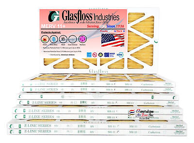 MERV 13 - Made in USA Qty:4 Glasfloss 16x20x1 - Pleated Air Furnace Filter