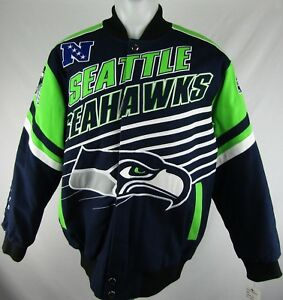 premium selection b10e8 a121e Details about Seattle Seahawks Men's Navy Blue Snap Up Heavy Letterman  Jacket NFL G-III L