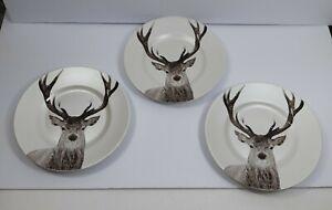 Set-of-3-PIER-ONE-Reindeer-Dinner-Plate-Winter-Christmas-Deer