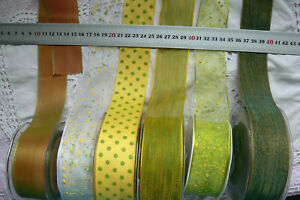 YELLOW-amp-PARROT-GREEN-Polyester-38mm-Wide-2-or-3-Metres-7-Design-Styles-Choice