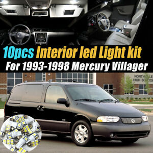 10pc Super White Car Interior Led Light Bulb Kit For 1993