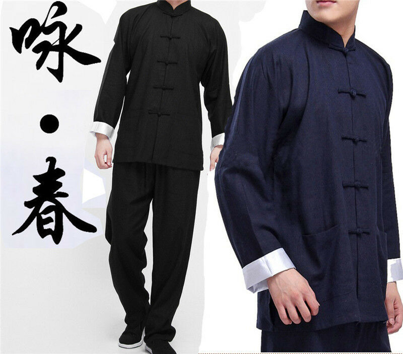 Bruce Lee Tang Suit Kung Fu Uniform Martial Arts Cardigan Cotton Linen Clothing