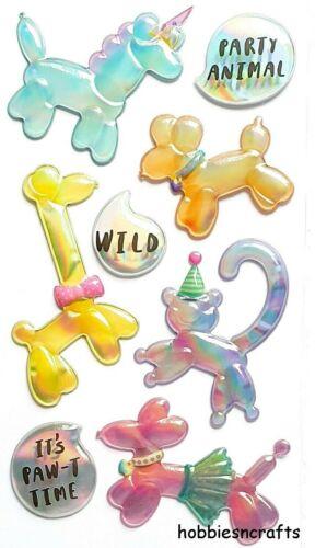 BALLOON ANIMALS Sticko 3-D Puffy Iridescent Bubble Stickers Monkey Unicorn Dogs