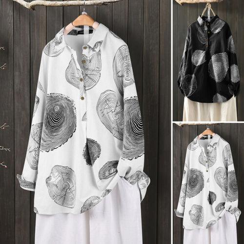 ZANZEA Women Buttons Neck Casual Floral Print Lapel Ethnic Blouse Tops Shirt US