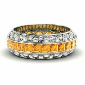 3.50 Ct Natural Diamond Citrine Eternity Band 14K White Gold Rings Size M N O P