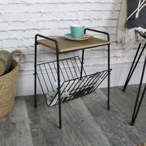 Image Is Loading Vintage Retro Wood Metal Side Table Magazine Rack