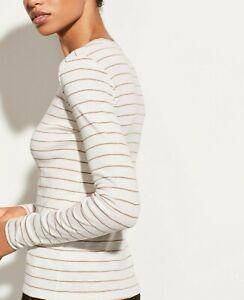 NWT Vince Stripe Print Wool Lightweight Sweater, White/Dust Rose, MSRP $235