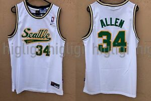 best website c99cc 054f1 Details about NWT Ray Allen #34 NBA Seattle Supersonics Swingman Throwback  Jersey Man - White