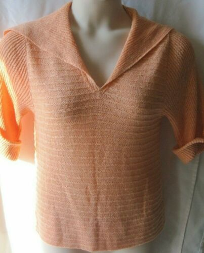Early 70s Vintage GOLDWORM Orange Sweater  Sz 8 It