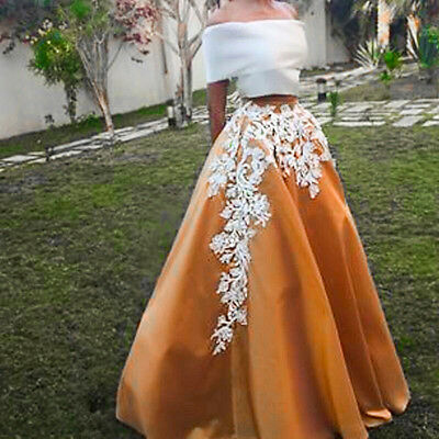 Elegant A Line Two Pieces Prom Gowns Off Shoulder Appliques Dress To Party 2015