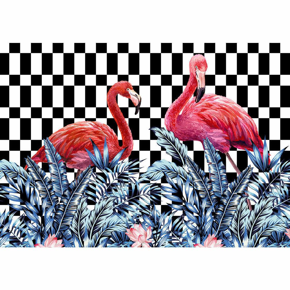 Fototapete Pflanze blueme Modern Design Flamingo Blatt Kariert liwwing no. 4405