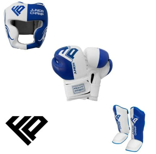 Kids Boxing Gloves Head Guard Shin Pads Junior Kick Boxing Mitts MMA UFC Boxing