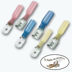 20 cosses électriques femelle 6.3mm thermorétractable à sertir