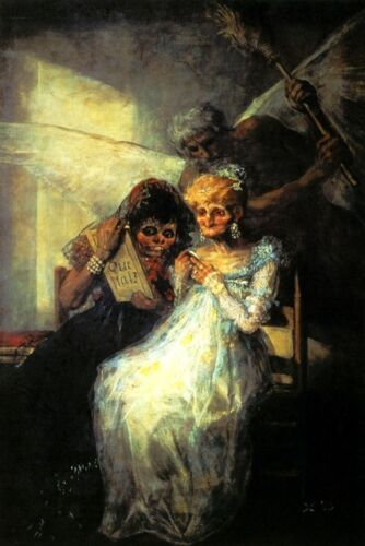 TIME AND THE OLD WOMEN VANITY UGLINESS RICH AGED UGLY PAINTING BY GOYA REPRO