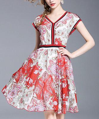 Discreto Fit & Flare Dress Size 10 Rosso E Bianco In Chiffon A Maniche Corte-mostra Il Titolo Originale