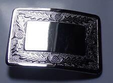 KILT belt buckle thistle design 9 x 7 cm K18 (O&S)